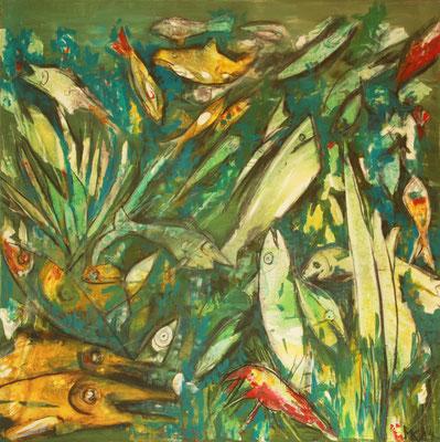 Monika Krömer, Bunte Fische, 100 x 100 cm, Acryl auf Leinwand, www.kroemer-webgalerie.de