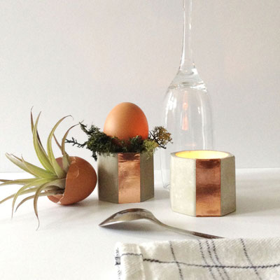 Concrete Copper Hexagon Tea Light Candle Holder