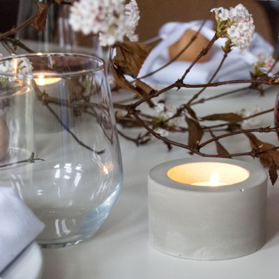 Bold Concrete Cylinder Tea Light Candle Holder