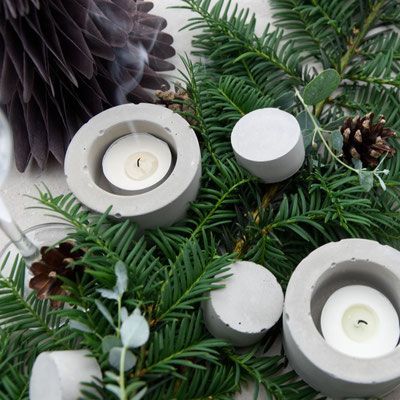 Concrete Cylinder Egg Cup And Tea Light Candle Holder