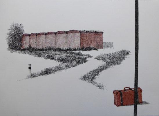 Neue Heimat? | 2019 | Tusche auf Papier | 26 x 36 cm