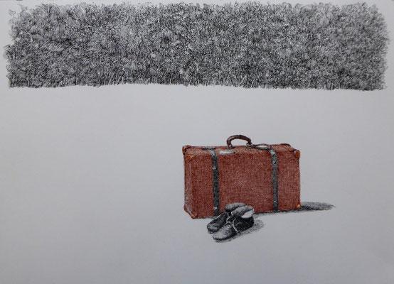 Heimatlos | 2019 | Tusche auf Papier | 26 x 36 cm