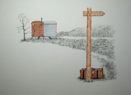 Wohin jetzt? | 2019 | Tusche auf Papier | 26 x 36 cm