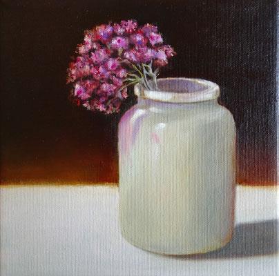 Vase mit Verbene | 2020 | Öl auf Leinwand | 25 x 25 cm