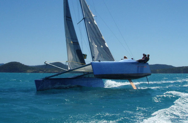 Catamaran Cynophope racing in the Whitsundays