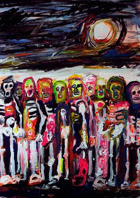 "OLIVER KROPF, ""reunion"", Acryl auf Karton, 50 x 70 cm, 2014"