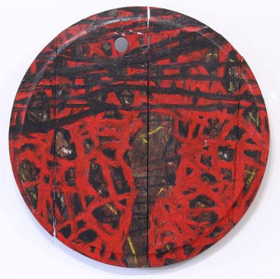 Eduard Bousrd Bangerl, o.T. (Fassdeckel I), Mischtechnik auf Holzfassdeckel, 1992 rund 51,5 cm