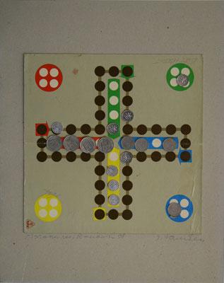 """Josef Ramaseder  """"Spiele-Rumänien"""" Mischtechnik (Münzen auf Spielbrett) 40x50cm"""