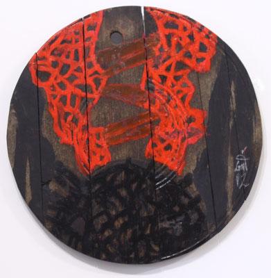 Eduard Bousrd Bangerl, o.T. (Fassdeckel II), Mischtechnik auf Holzfassdeckel, 1992 rund 51,5 cm