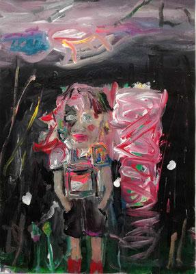 """OLIVER KROPF, """"o.T."""" (boy), Acryl auf Karton, 50 x 70 cm, 2017"""