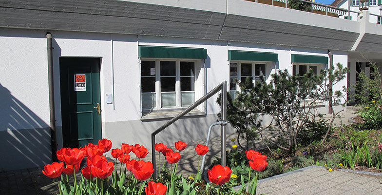 Gesangsschule in Waltenschwil, Eingang mit Fensterfront