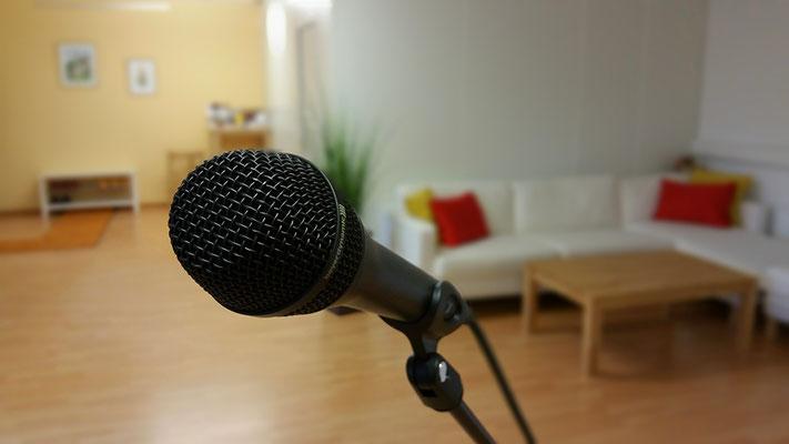 Verschiedene Mikrofone stehen zur Verfügung