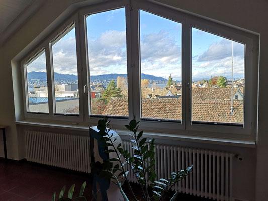 Unterrichtsraum über den Dächern von Erlenbach mit wunderbarem Blick auf den Zürichsee