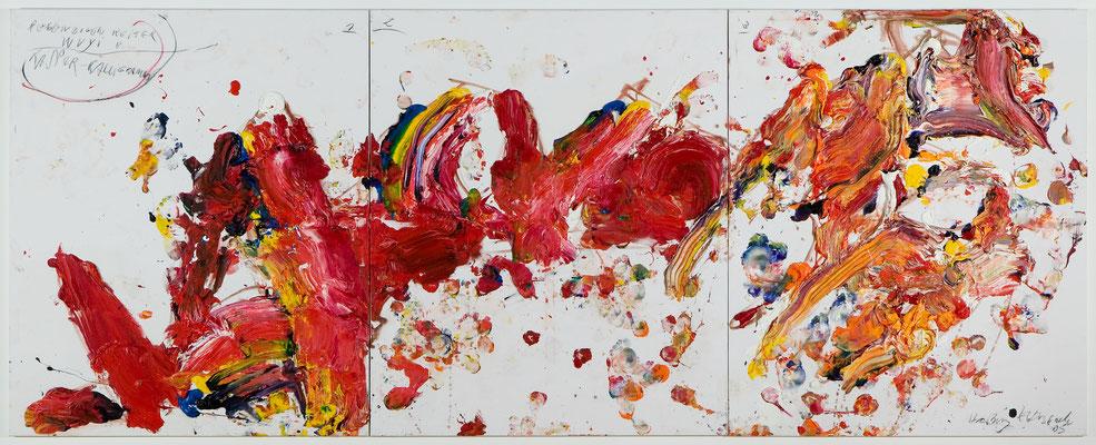 Hartwig Ebersbach, Kaspar -Kalligramm Regenbogenriter Wuyi (dreiteilig), 2005, Öl auf Leinwand, © VG Bild-Kunst, Bonn 2018
