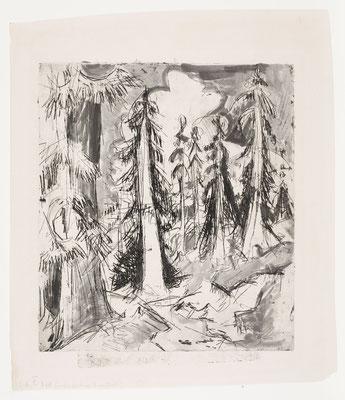 Ernst Ludwig Kirchner, Alpenweg mit Wettertannen, 1921, Pinsel über Radierung