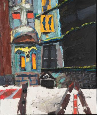 Sighard Gille, New York Beckmann Haus, 1997, Eitempera/Öl, Collage auf Sperrholz, © VG Bild-Kunst, Bonn 2018