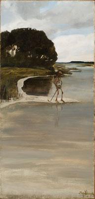 Max Klinger, Der Tod am Wasser, 1881, Öl auf Leinwand, nachträglich auf Holz übertragen