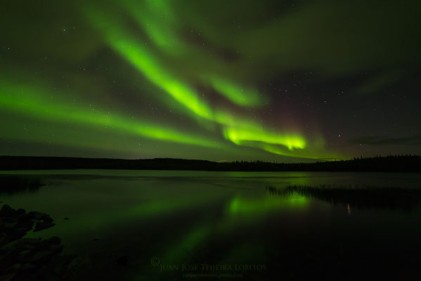 Aurora boreal en Madeline Lake, Yellowknife.