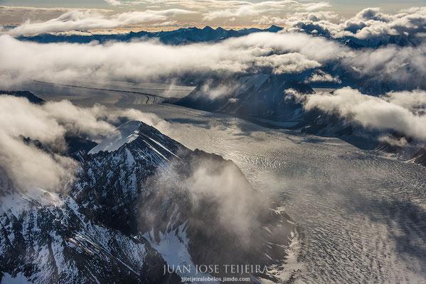 Vista aérea sobre la cordillera St. Elias, Kluane National Park.