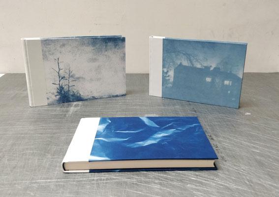 carnets papier aquarelle 300g, bradel  1/2 peau et cyanotype en couverture