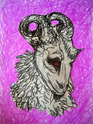 o.T, 2012/2015, 18 x 13 cm, Bleistift, Edding, Farbstift, Öl, Papier-Ausschnitt, Kleber auf Papier