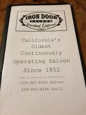 Groveland Saloon Speisekarte