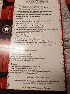 Speisekarte Big John Texas BBQ