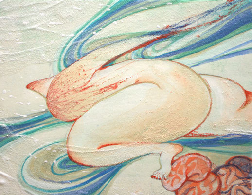 [風を呼ぶ]    14cm×18cm   麻紙に岩絵具                                                                          [I call the wind]     Pure pigment on Japanese Paper