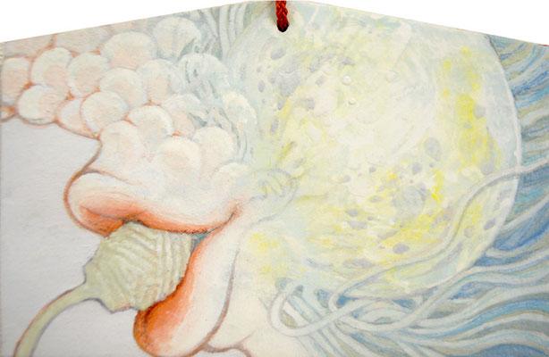[ないものねだり]    10cm×17cm   麻紙に岩絵具                          [That's crying for the moon.]  Pure pigment on Japanese Paper