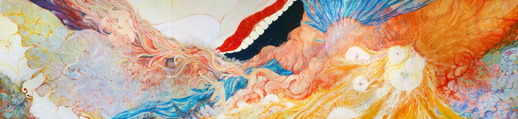 [恐らくそれが続くまで]     160cm×690cm   麻紙に岩絵具                                                                                                                [Maybe, untill continues  Icall the wind or To call the wind]    Pure pigment on Japanese Paper