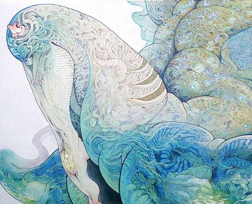 [サリーに乗って]   130cm×162cm  麻紙に岩絵具                            [Ride on Sally]    Pure pigment on Japanese Paper