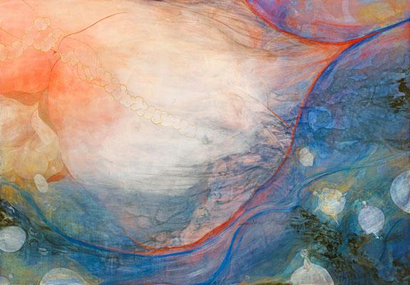 [目をつむってはならない]    160cm×230cm   麻紙に岩絵具                                                                                                [Don't shut your eyes.]     Pure pigment on Japanese Paper