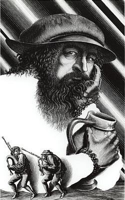 Hitoshi Karasawa/ 柄澤斎「肖像・ブリューゲル」 木口木版画