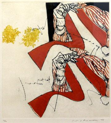 Masuo Ikeda/池田満寿夫「私は待っている」銅版画 1966年