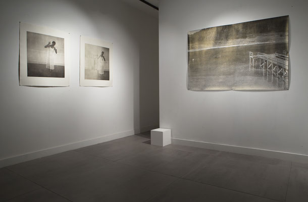 right:woodcut works by Katsutoshi Yuasa   left:photo etching works by Margaret Ashman