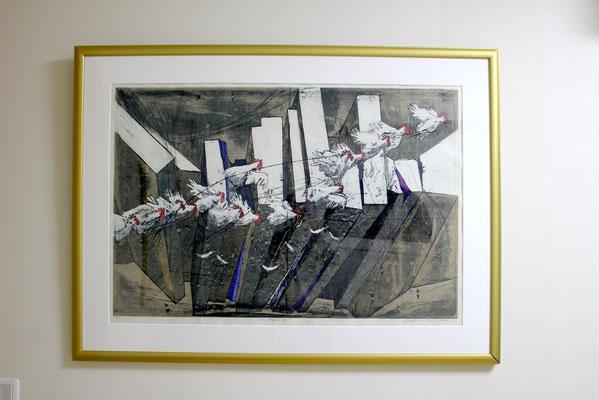 Seiko Kawachi/ 河内成幸「Flying」木版画 1981年