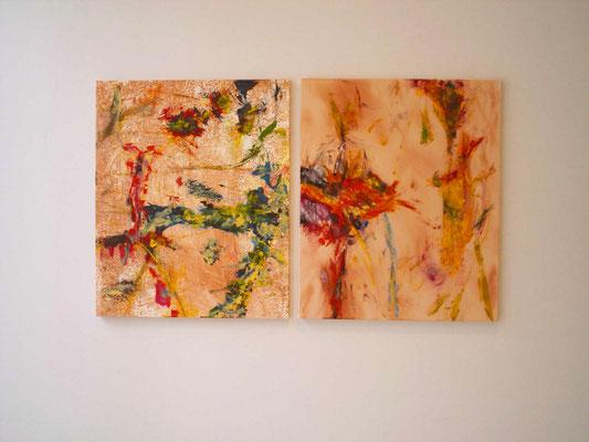 無題 2005年 銅版画、油彩、キャンバスにアクリルと油彩 各F12