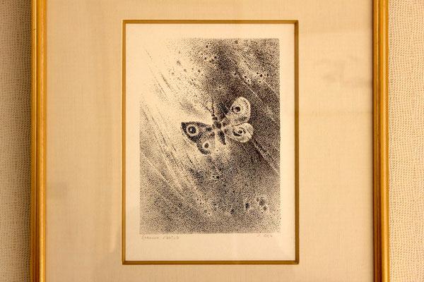 岡鹿之助 「蛾」石版画