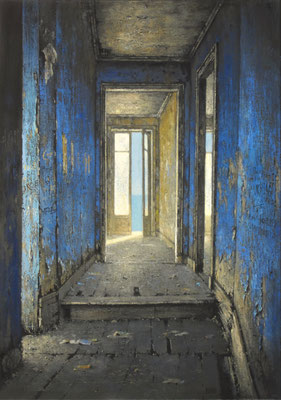 REFUGE GRIS ET BLEU - 2021 - Huile sur toile - 65 x 46 cm