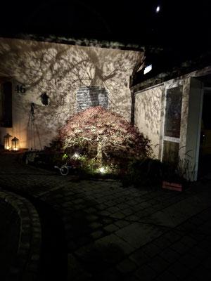 Angenehm warmweiße Farbtemperatur, auf der Hauswand ein spektakulärer Schattenwurf.