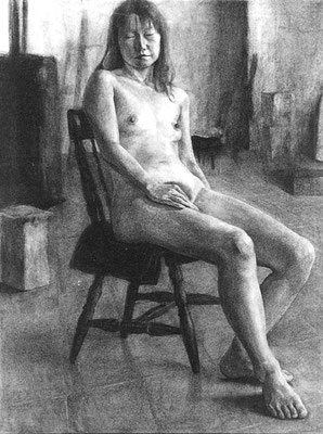 50.0×65.0cm  charcoal paper・ charcoal  「nude woman」 / A university bought it