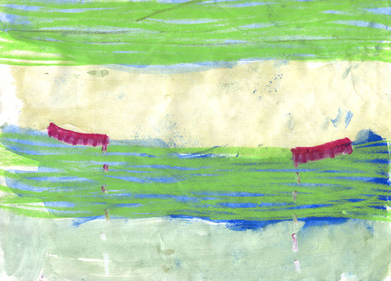 21.0×29.7cm water color・water crayon 「piles of books」