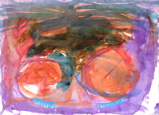 21.0×29.7cm water color・ water crayon 「A fetus is sad, too」