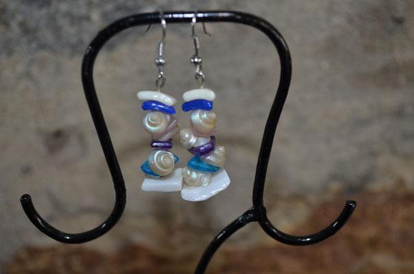 Modeschmuck Ohrringe mit Schneckenhäuschen, Muscheln, Rosenquarz und Kunst Steinen. Ein handgemachtes Unikat, made by Zeitzeugen-Manufactur. 4,50 €