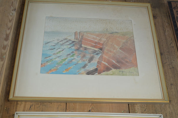 signiertes Aquarell im Rahmen, hinter Glas. Mit Altersspuren. Preis: 35,00 €
