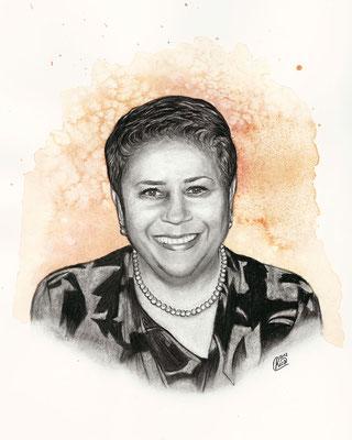 Zeichnung einer verstorbenen Dame als Geschek für die Hinterbliebenen mit Aquarell-Hintergrund