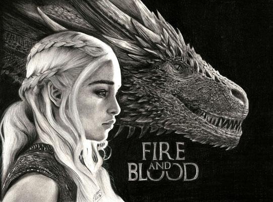 Zeichnung Fanart Game of Thrones, Daenerys Targaryen, Schauspielerin Emilia Clarke