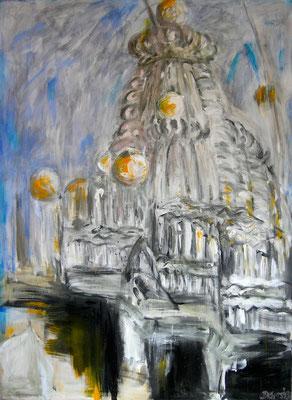 Tempelkuppel, Acryl auf Leinwand, 160 x 120 cm, 1992, verkauft