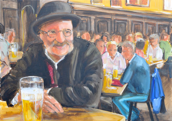 Münchner Bierkneipe, Acryl auf Leinwand, 50 x 70 cm, 2016