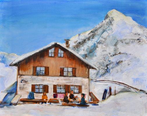 Berghütte, Acryl auf Leinwand, 80 x 100 cm, 2017